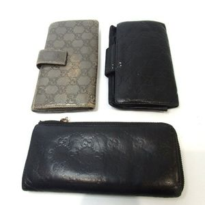Gucci Bags - GUCCI 3 monogram set lot of wallets purse Leather